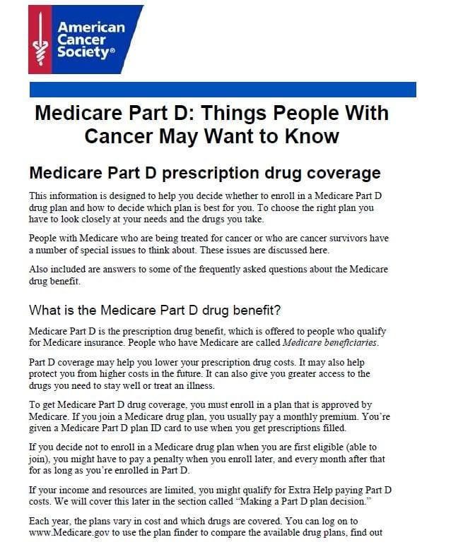 Medicare Part D Amp Cancer Medicare Supplement Insurance